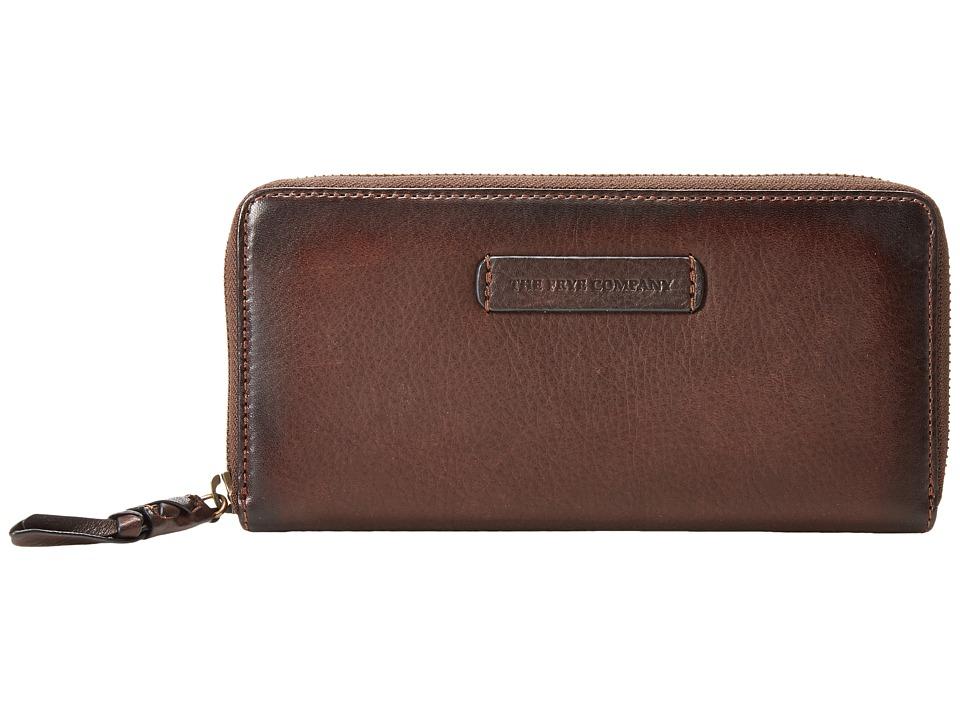 Frye - Jenny Zip Wallet 2 (Dark Brown Soft Vintage Leather) Wallet Handbags