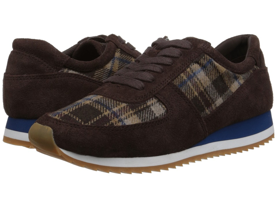 Bella Vita Emile Dark Brown Suede/Brown Plaid Flannel Womens Lace up casual Shoes