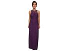 Donna Morgan Harper Long Illusion-Neck Lace Dress (Purple Dahlia)