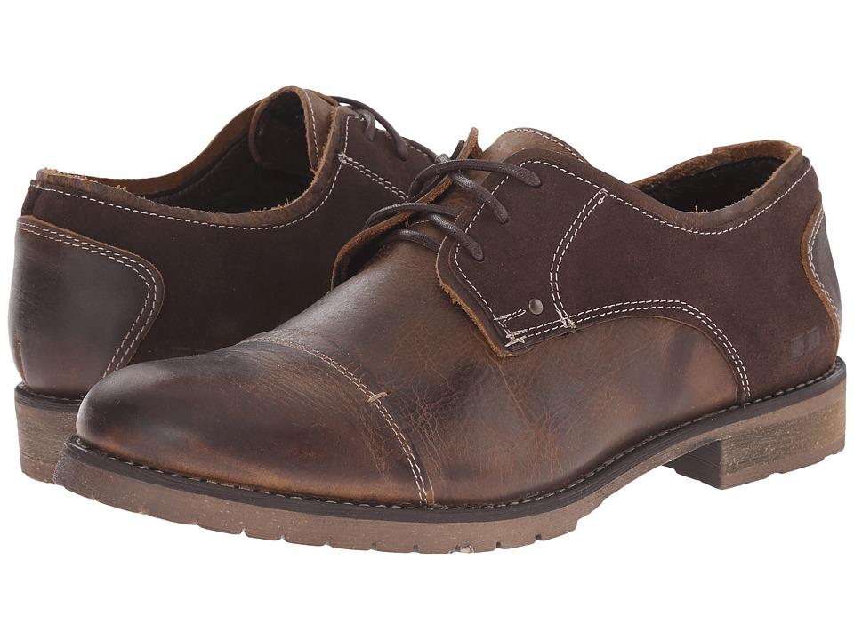 Bed Stu Repeal Tan Gold/Dark Brown Suede Mens Lace Up Cap Toe Shoes