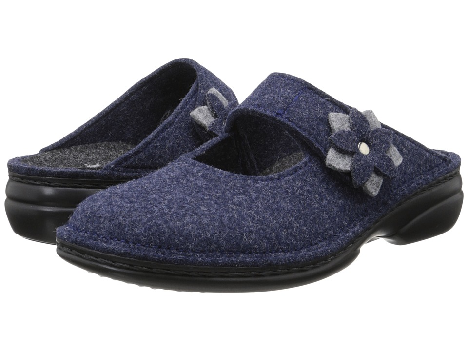 Finn Comfort Arlberg Dark Blue Wollfilz/Light Grey Womens Clog Shoes