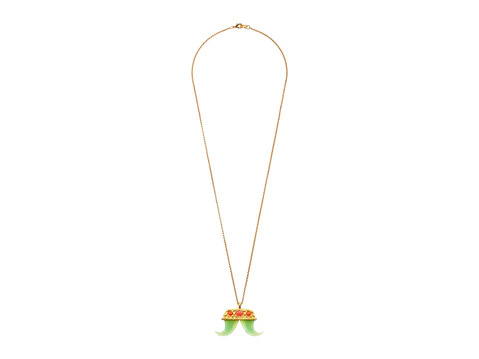Kenneth Jay Lane - Small Pendant Double Tusk Necklace (Jade/Light Coral) Necklace