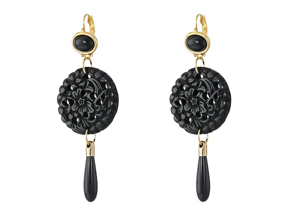 Kenneth Jay Lane - Small Top/Round Carved Bottom w/ Drop Earrings (Black) Earring