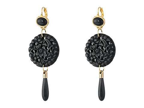 Kenneth Jay Lane Small Top/Round Carved Bottom w/ Drop Earrings - Black