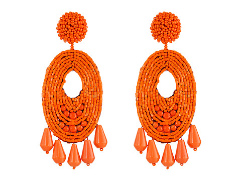 Kenneth Jay Lane Oval w/ Drops Round Top Earrings - Light Coral