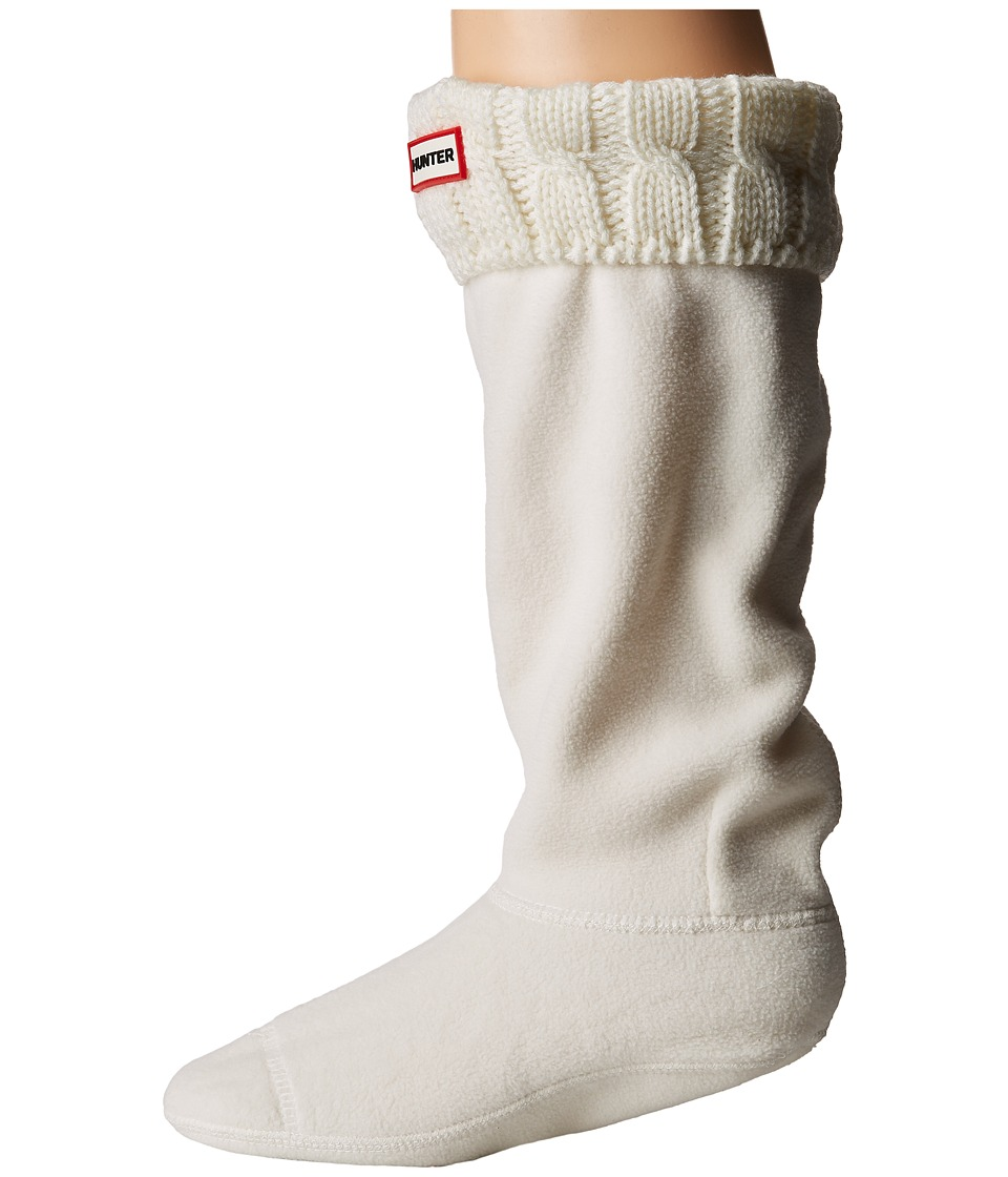 Hunter 6 Stitch Cable Boot Sock (Natural White) Women's C...