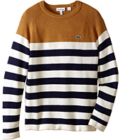 Lacoste Kids - Blocked Stripe Crew Neck Sweater (Toddler/Little Kids/Big Kids)