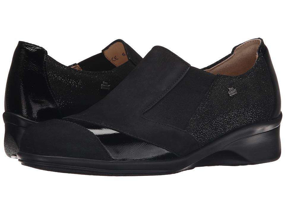 Finn Comfort Edina Black Nubuck/Plata Patent/Luz Womens Clog Shoes