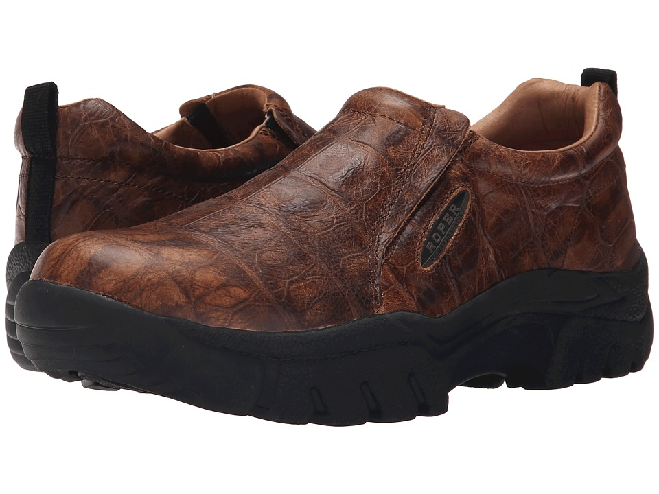 Roper Performance Slip On (Brown Leather Faux Tortoise Embossed) Men