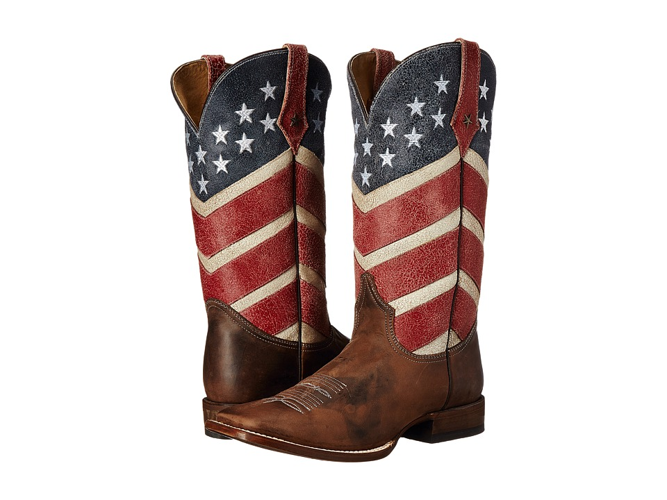 Roper American Flag Round Toe Boot (Brown) Cowboy Boots