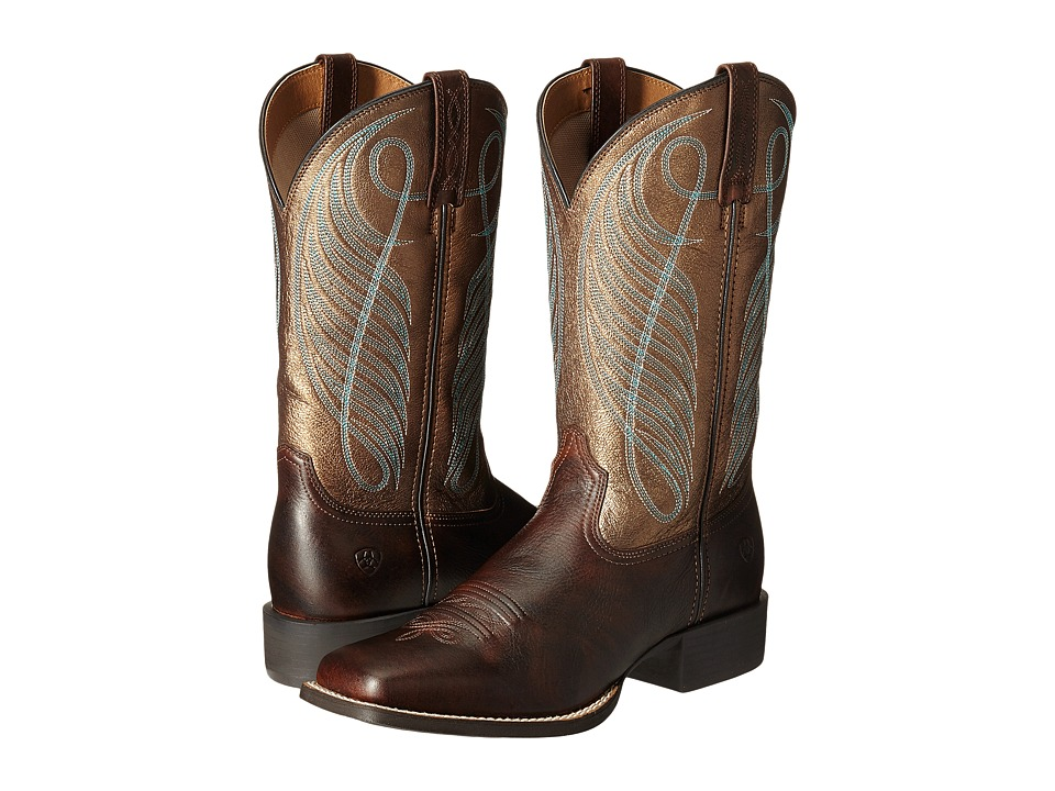 Ariat Round Up Square Toe (Yukon Brown/Bronze) Cowboy Boots