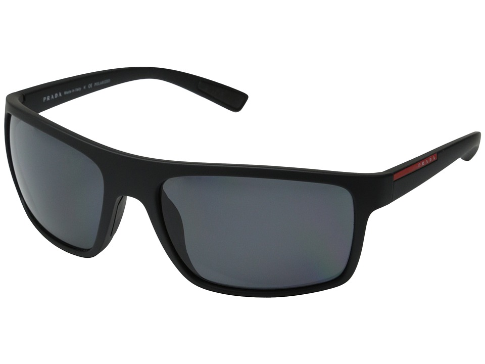Prada Linea Rossa PS 02QS Black Rubber/Grey Polarized Fashion Sunglasses