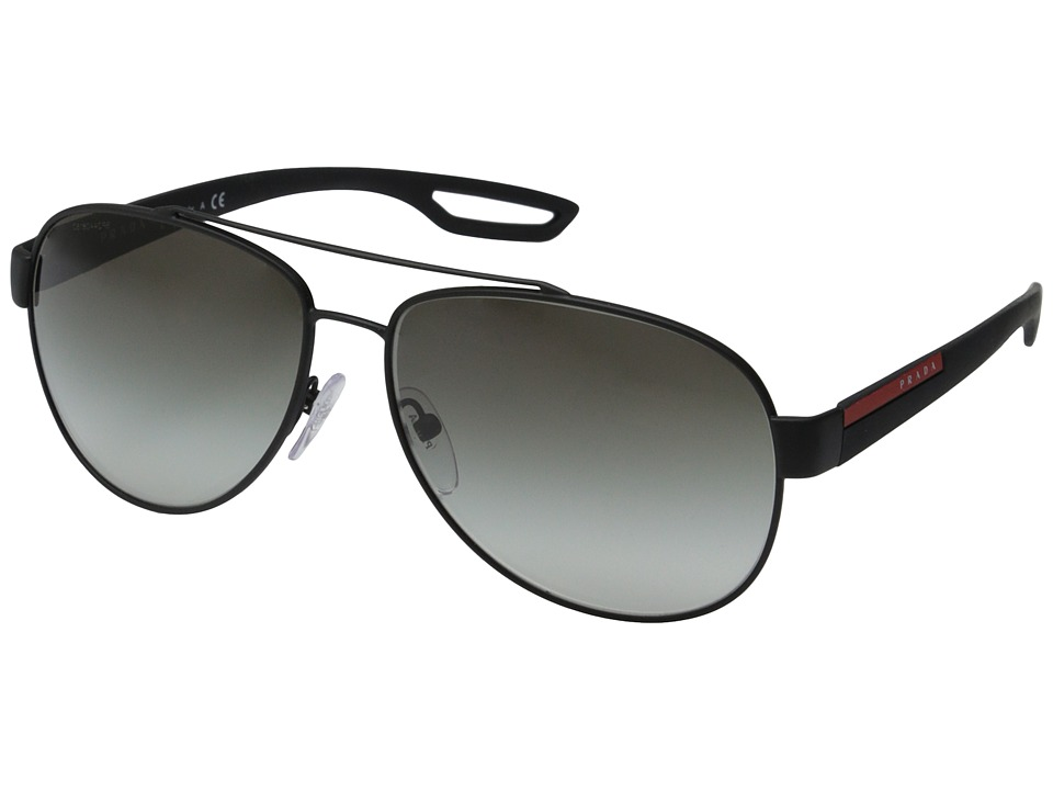 Prada Linea Rossa PS 55QS Black Rubber/Grey Gradient Fashion Sunglasses