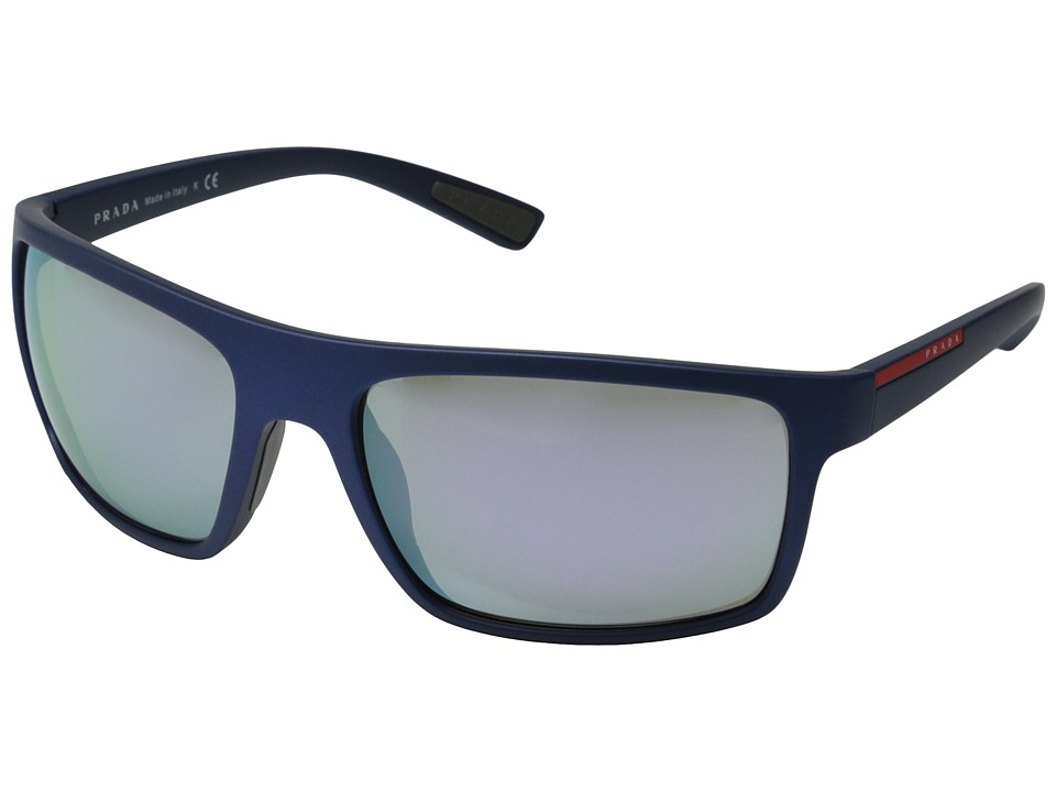 Prada Linea Rossa PS 02QS Shot Blue Rubber/Grey Mirror Milky Blue Fashion Sunglasses
