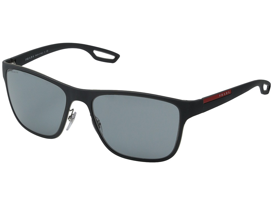 Prada Linea Rossa PS 56QS Grey Rubber/Dark Grey Fashion Sunglasses