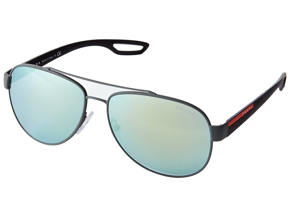 Prada Linea Rossa PS 55QS Grey Rubber/Emerald Iridium Fashion Sunglasses