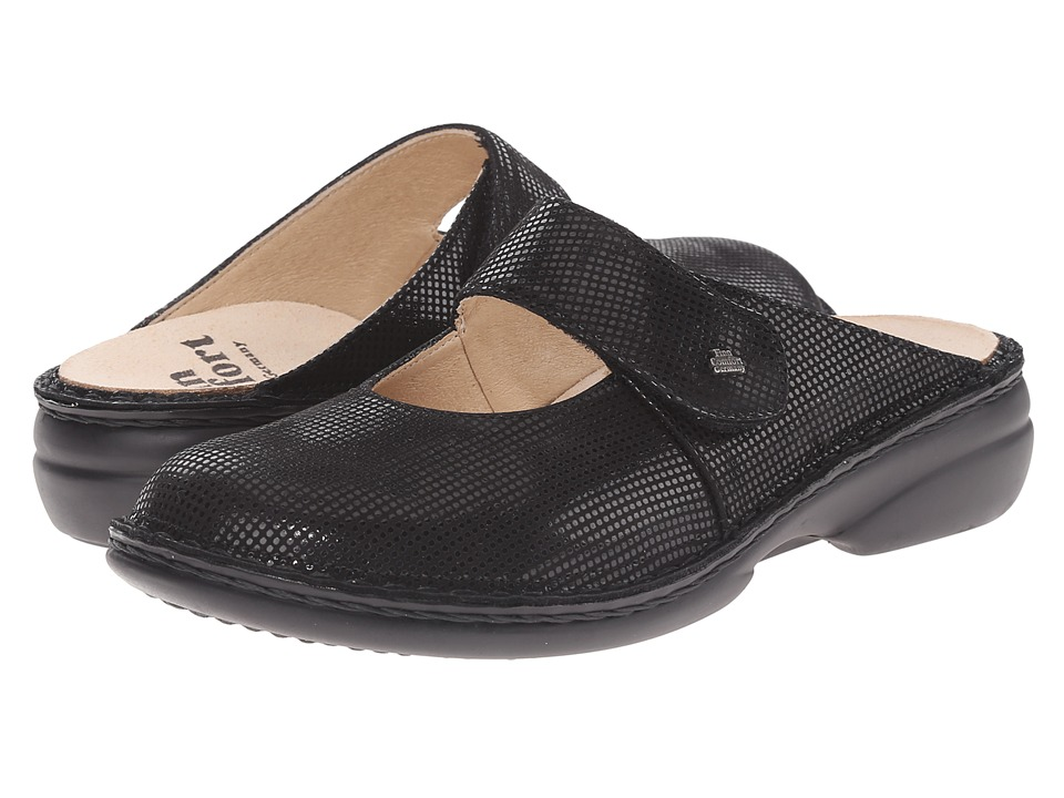 Finn Comfort Stanford Black Points Womens Clog/Mule Shoes