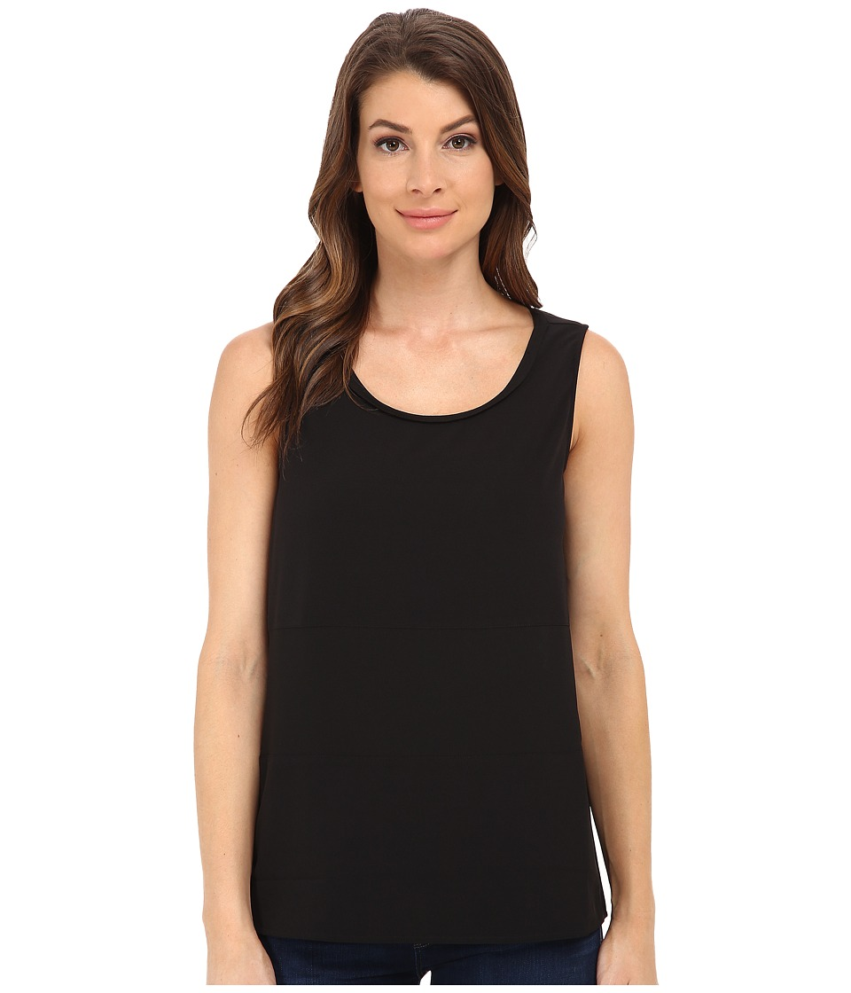 Jack by BB Dakota Alary Crepe de Chine and Chiffon Tank Top Black Womens Sleeveless