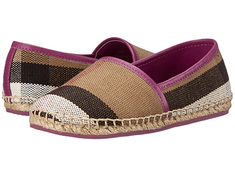 Burberry Kids Espadrille with Check (Toddler/Little Kid) - Magenta Pink