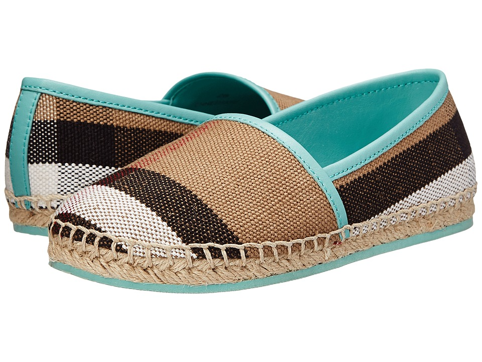 Burberry Kids Espadrille with Check (Toddler/Little Kid) (Mint Green) Girl's Shoes
