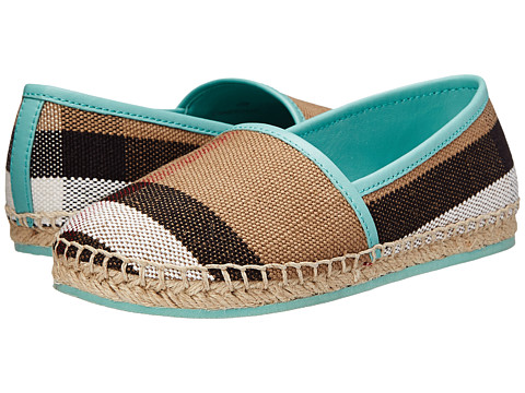 Burberry Kids Espadrille with Check (Toddler/Little Kid) - Mint Green
