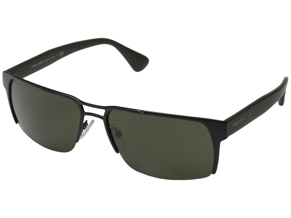 Prada PR 52RS Matte Black/Dark Green Fashion Sunglasses