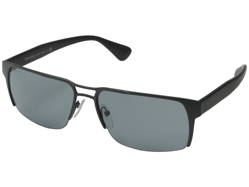 Prada PR 52RS Brushed Matte Grey/Dark Grey Fashion Sunglasses
