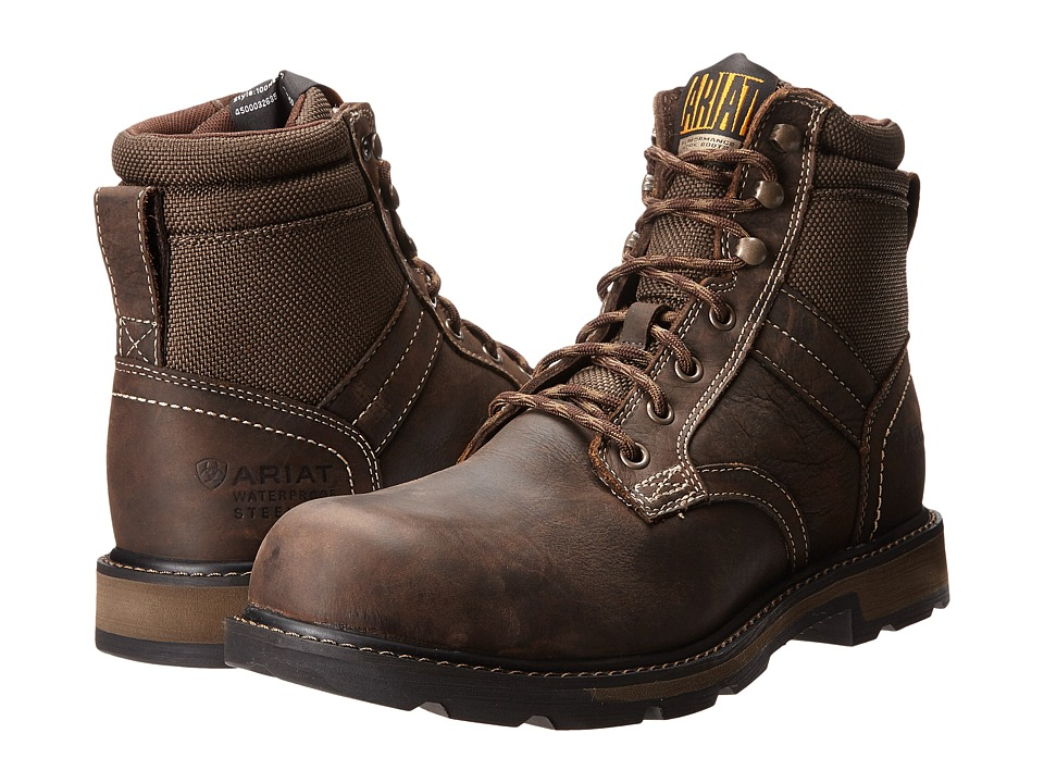 Ariat Groundbreaker 6 H2O Steel Toe (Dark Brown/Dark Olive Cordura) Men