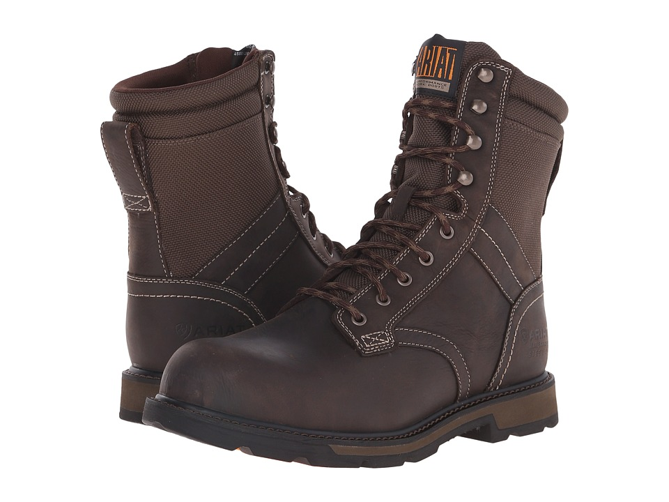 Ariat Groundbreaker 8 H2O Steel Toe (Dark Brown/Dark Olive Cordura) Men