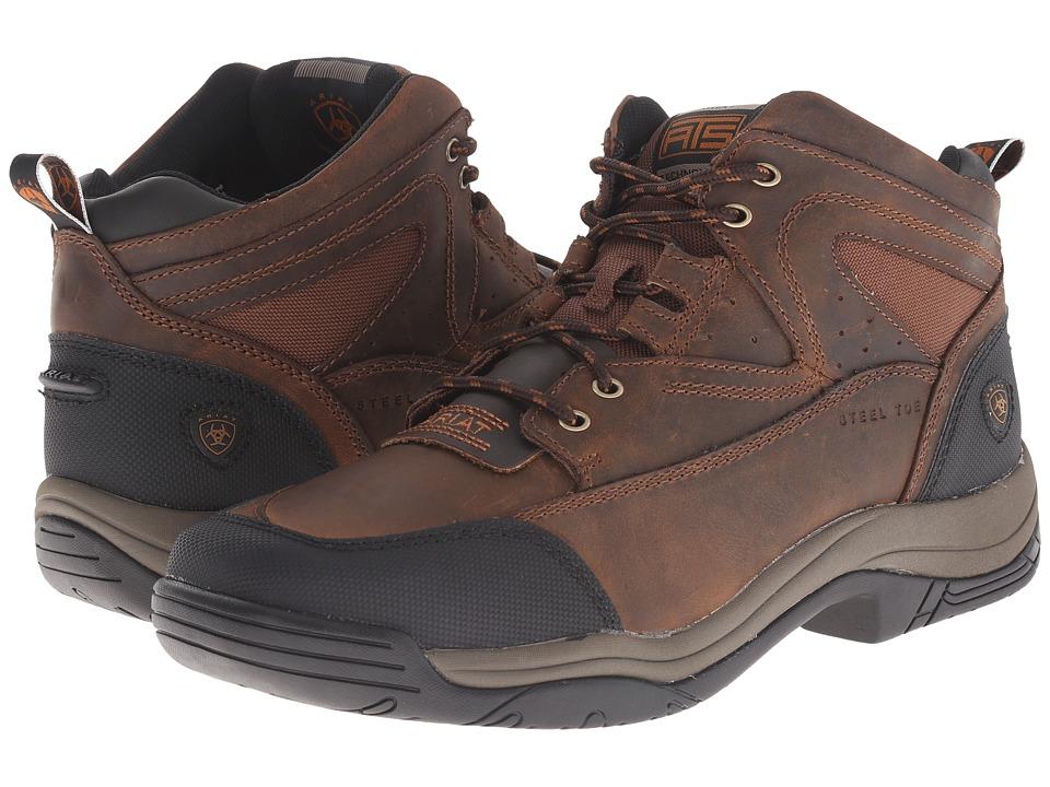 Ariat Terrain Wide Square Steel Toe (Distressed Brown) Me...
