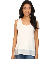 Dylan by True Grit - Loose Knit Tank Top w/ Chiffon Trim