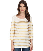 Dylan by True Grit - 3/4 Sleeve Slim Boat Neck w/ Stripe Screen Top