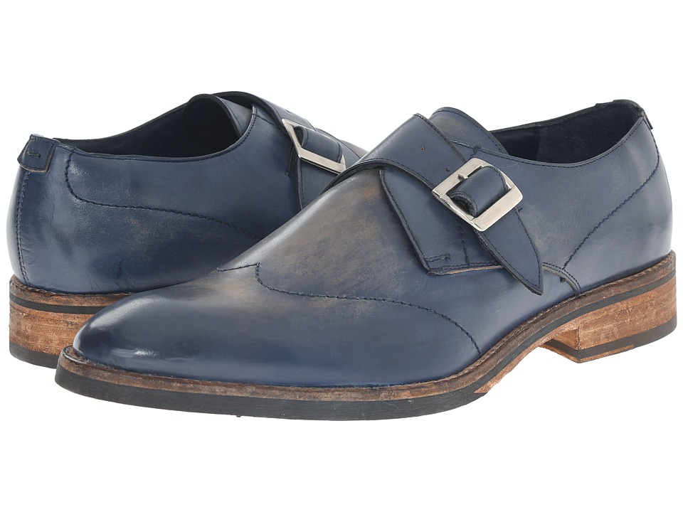 Messico Alejandro Navy Vintage Leather Mens Flat Shoes
