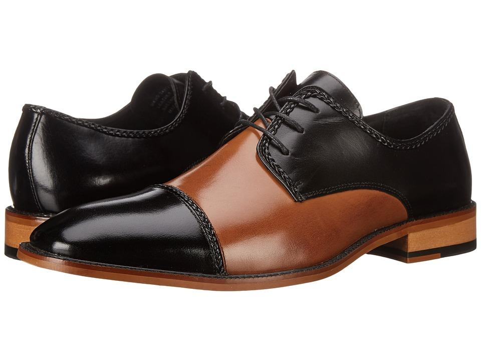 Stacy Adams - Brayden BlackTan Mens Lace Up Cap Toe Shoes $110.00 AT vintagedancer.com