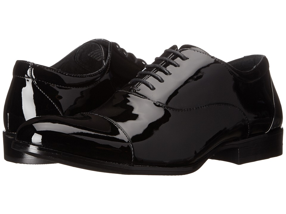 1940s Style Mens Shoes Stacy Adams - Gala Black Patent Mens Lace Up Cap Toe Shoes $65.00 AT vintagedancer.com