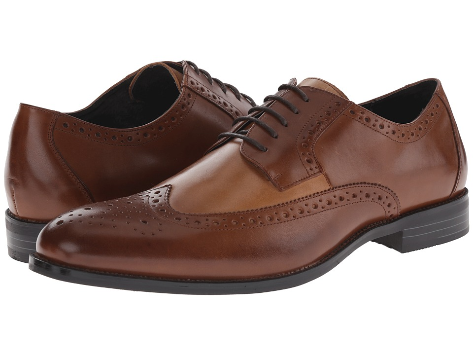 Stacy Adams - Garrison CognacTaupe Mens Lace Up Wing Tip Shoes $90.00 AT vintagedancer.com