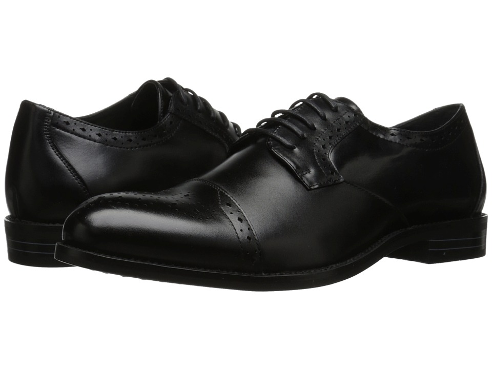 Stacy Adams - Granville Black Mens Lace Up Cap Toe Shoes $90.00 AT vintagedancer.com