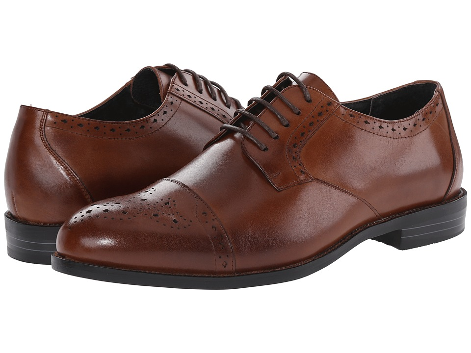 Stacy Adams - Granville Cognac Mens Lace Up Cap Toe Shoes $90.00 AT vintagedancer.com