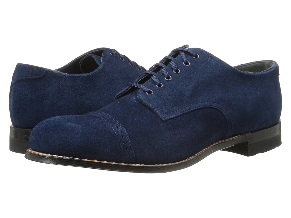 1950s Style Mens Shoes Stacy Adams - Madison Blue Suede Mens Lace Up Cap Toe Shoes $125.00 AT vintagedancer.com
