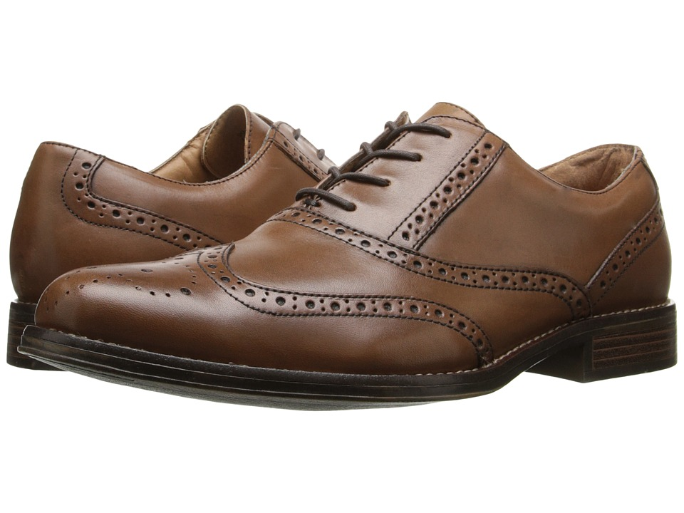 Dockers Corinth British Tan Burnished Full Grain Mens Lace Up Wing Tip Shoes