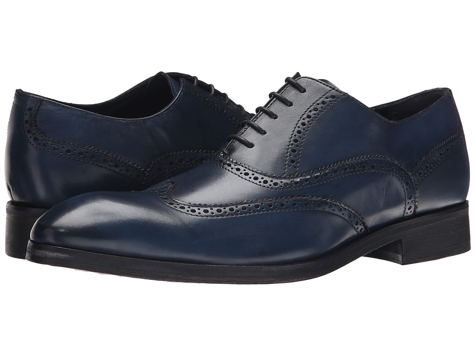 Messico Ciro Navy Blue Leather Mens Flat Shoes