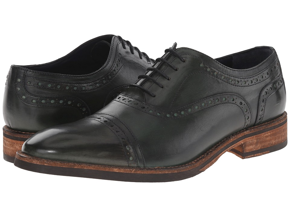 Messico Elias Green Leather Mens Flat Shoes