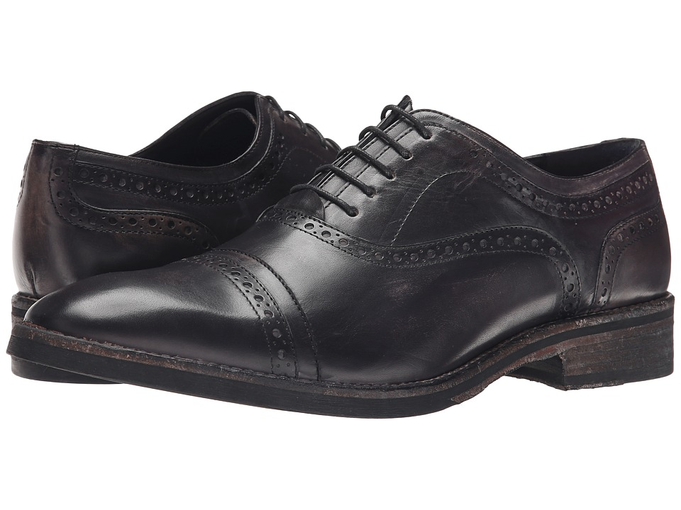 Messico Elias Black Leather Mens Flat Shoes