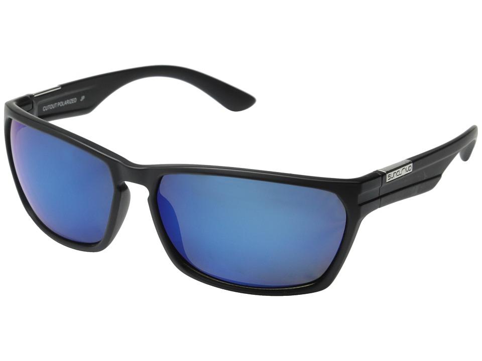 SunCloud Polarized Optics - Cutout Polarized (Matte Black Frame/Blue Mirror Polarized Polycarbonate Lenses) Fashion Sunglasses
