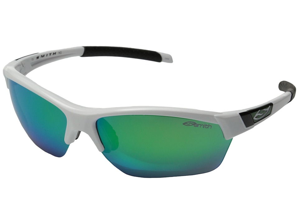Smith Optics - Approach Max (White/Green Sol-X/Lgnitor/Clear Carbonic TLT Lenses) Fashion Sunglasses