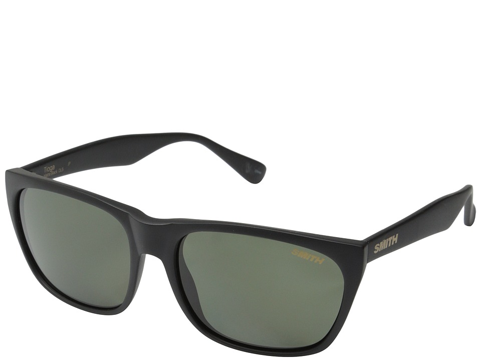 Smith Optics - Tioga (Matte Black/Polar Gray Green Carbonic TLT Lenses) Fashion Sunglasses