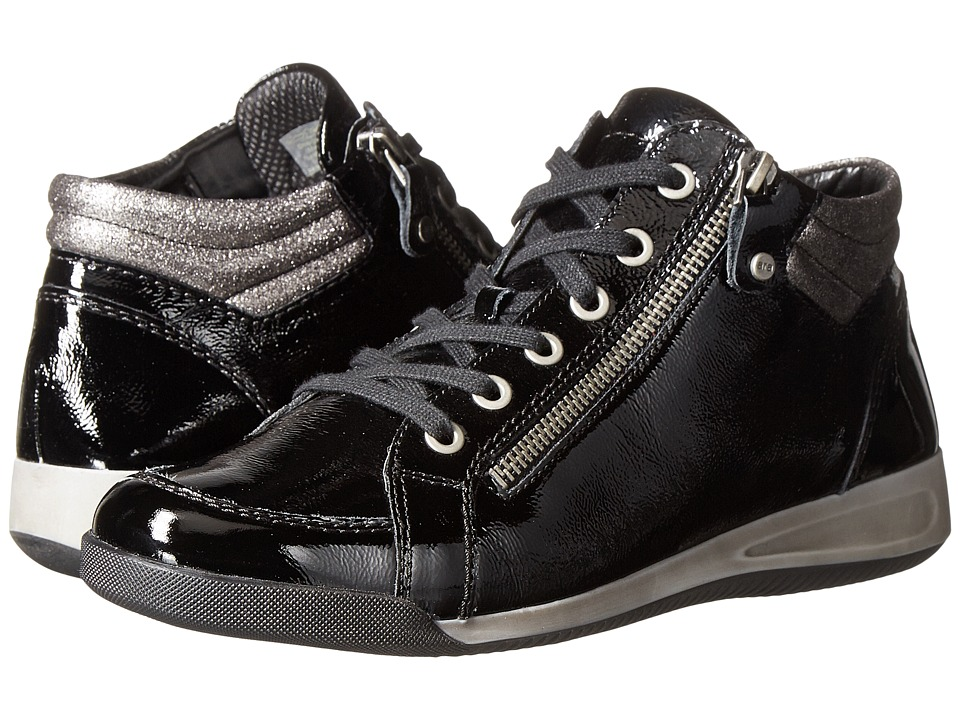 ara Rylee (Black Crinkle Patent/Metallic Accent) Women's Shoes