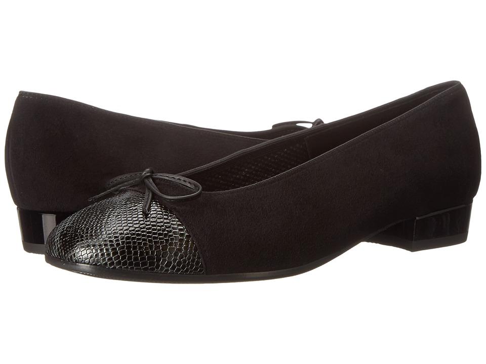 ara Bel Black Suede/Snake Print Toe Womens Slip on Dress Shoes