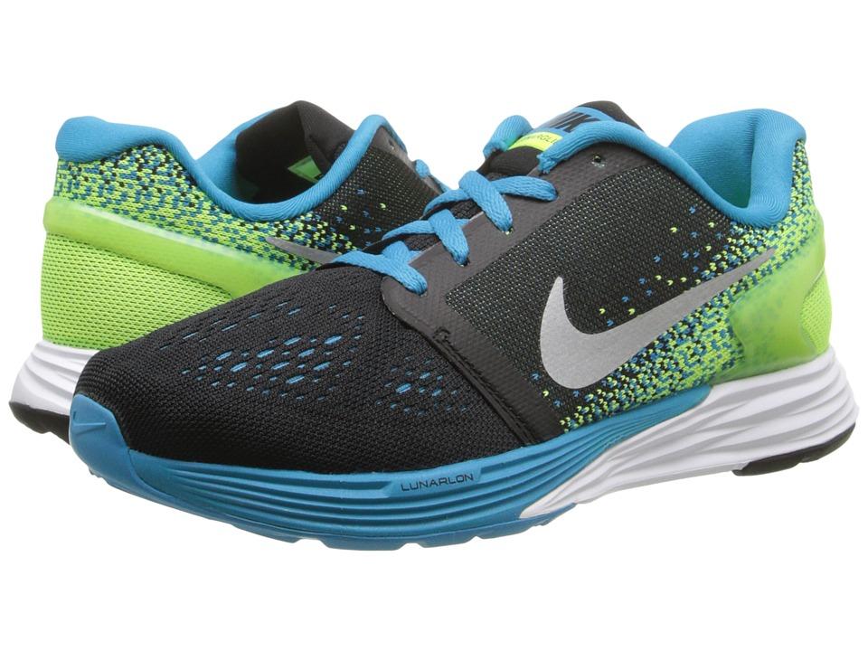 Nike Kids Lunarglide 7 Big Kid Black/Blue Lagoon/White/Volt Boys Shoes