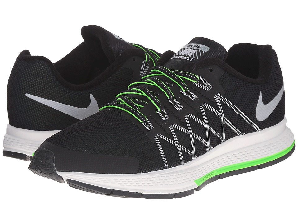 Nike Kids Zoom Pegasus 32 Flash Little Kid/Big Kid Black/Pure Platinum/Electric Green/Reflect Silver Boys Shoes